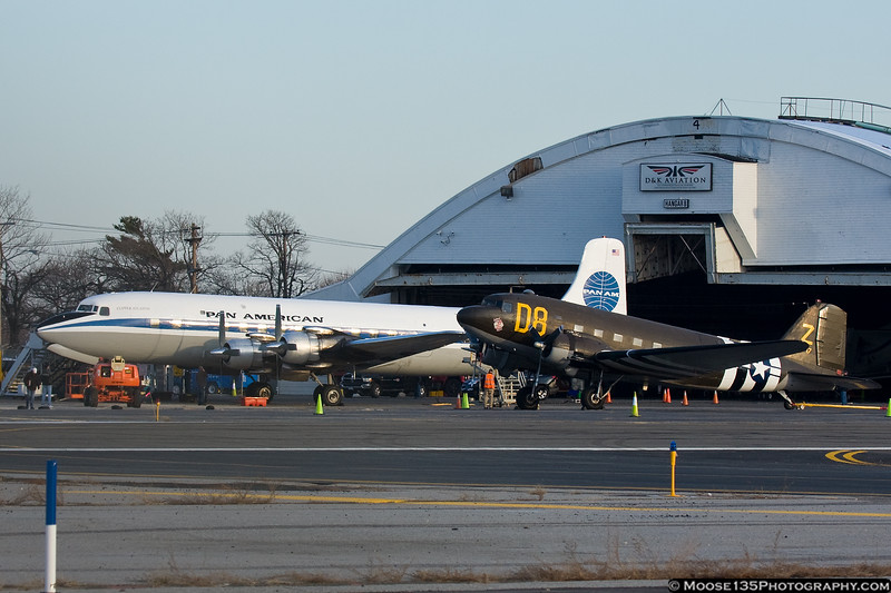 """March 17 - It's Show Time! """"Pan Am"""" DC-7 along side the American Airpower Museum's C-47 prior to filming for the new TV show """"Pan Am""""."""