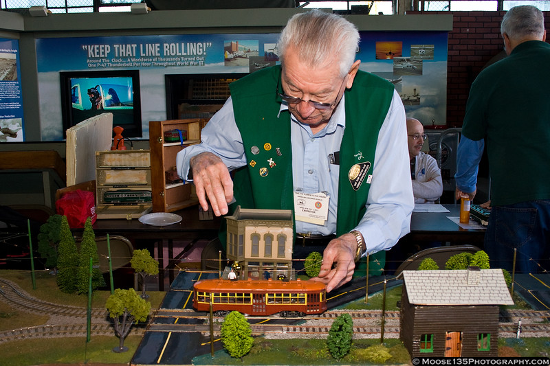 """May 1 - One of the local clubs represented at the American Airpower Museum """"Take the Planes to the Trains"""" model railroad show."""