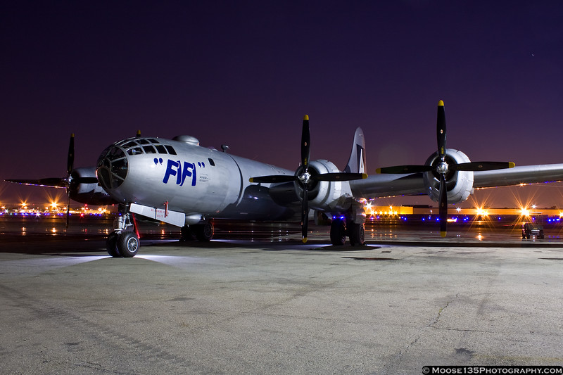 May 25 - Fifi, the only B-29 flying in the world, arrives at Republic Airport for the Jones Beach Air Show.