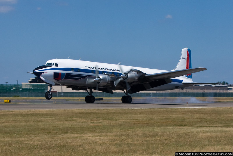 """July 17 - Historical Flight Foundation's DC-7B returns to Republic Airport for filming on the TV series """"Pan Am""""."""