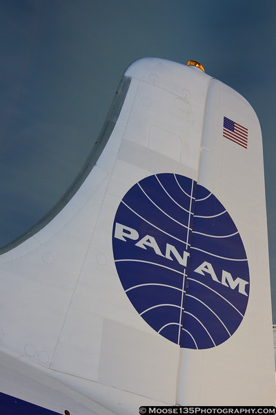 March 15 - A sight not seen in many years - the Pan Am blue ball logo on the tail of an airliner. Of course, this is only a temporary marking for the filming of a TV show, but it's nice to see none the less.