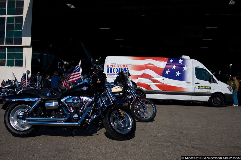 November 11 - The US Veterans Motorcycle Club was on hand to help dedicate a new truck for Island Harvest's Operation Hope, used to bring food to military veterans and families in need.