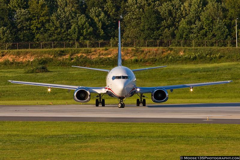 August 31 - US Airways Boeing 737-400 prepares to depart Charlotte.