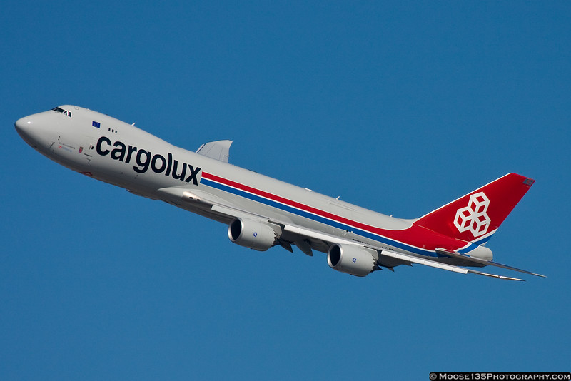 February 26 - Boeing's newest design, the 747-8 Freighter, departs Kennedy Airport, operated by Cargolux Airlines.