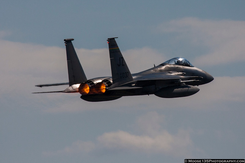 November 11 - F-15 of the Louisiana Air National Guard blasts out of Charlotte, part of a four-ship flyover of the Carolina Panthers NFL game on Veterans Day.
