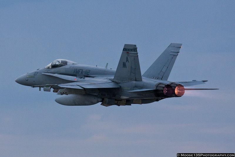 March 5 - Afterburners, Baby! F/A-18A+ Hornet departing Republic Airport.
