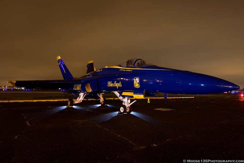 April 1 - Two Blue Angel jets arrived at Republic Airport, to prepare for this May's Fleet Week activities.