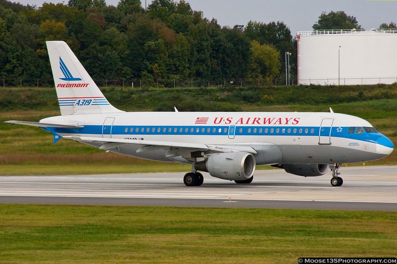 September 30 - US Airways Piedmont retro-scheme A319 departing Charlotte.