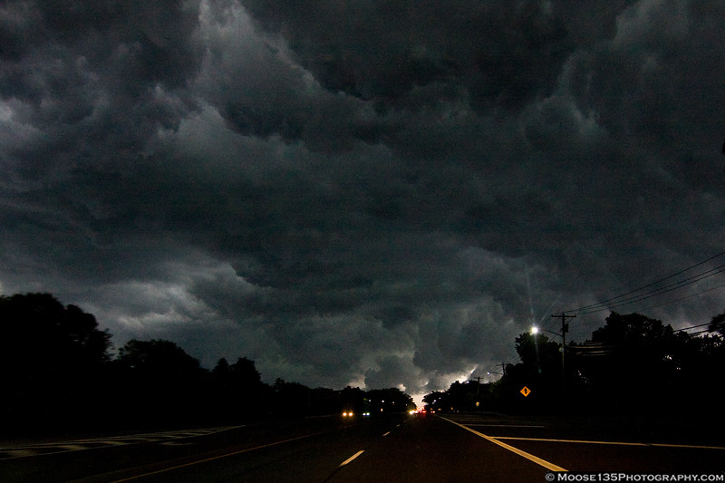 July 26 - Storm clouds gather over Jericho Turnpike in Syosset.