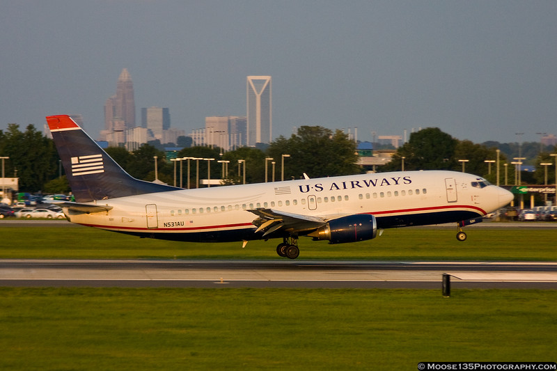 August 18 - Late day light on this US Airways 737 as it arrives in Charlotte.