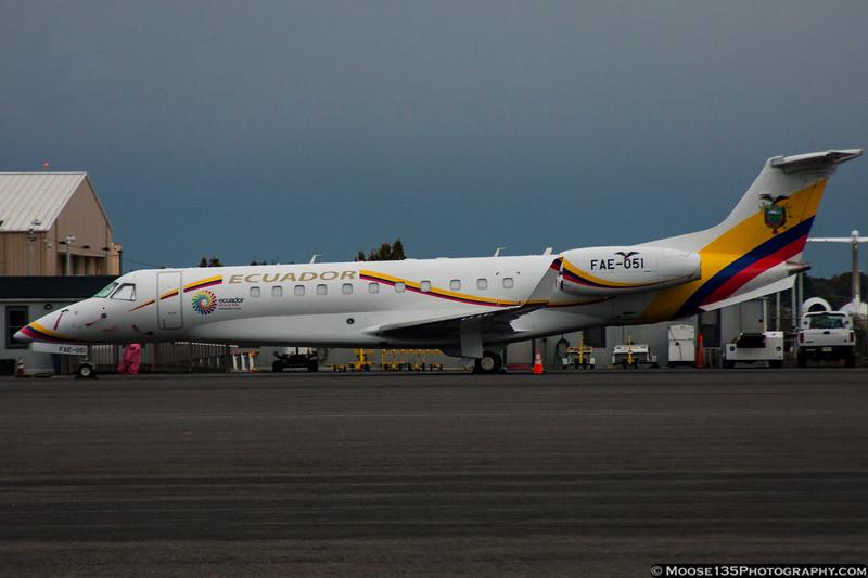 October 30 - Ecuador Air Force Embraer ERJ-135 at Charlotte.