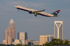 August 16 - As the early evening sun fades, this US Airways A330 leaves Charlotte for London, England.