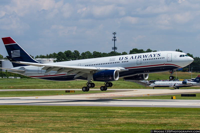 August 10 - Coming to America...N288AY, US Airway's newest Airbus A330, arrives at Charlotte on the delivery flight from Toulouse, France.