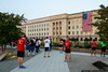 September 11 - Waiting for the lowering of the flag at the Pentagon 9/11 Memorial.