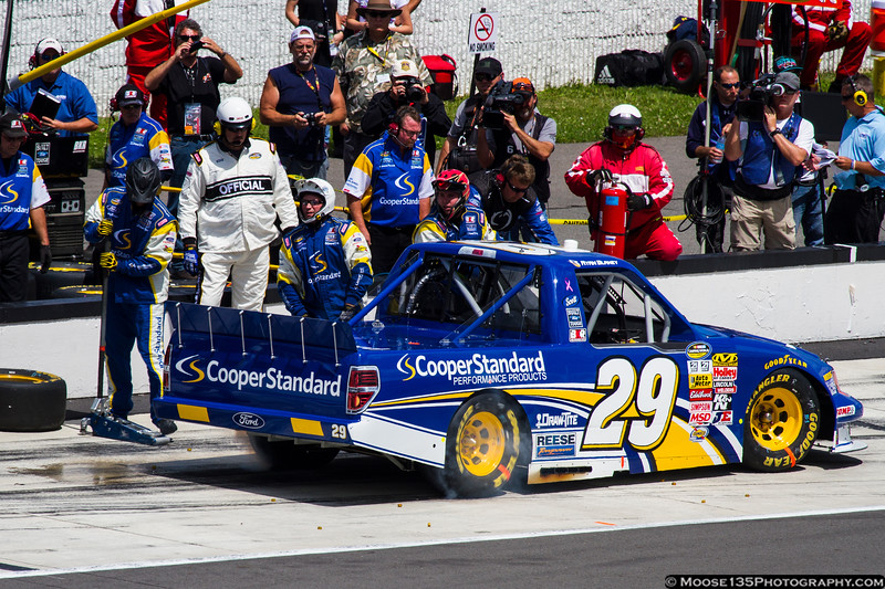 August 3 - Eventual race winner Ryan Blaney leaves his pit after service during the NASCAR Camping World Truck Series race at Pocono Raceway.
