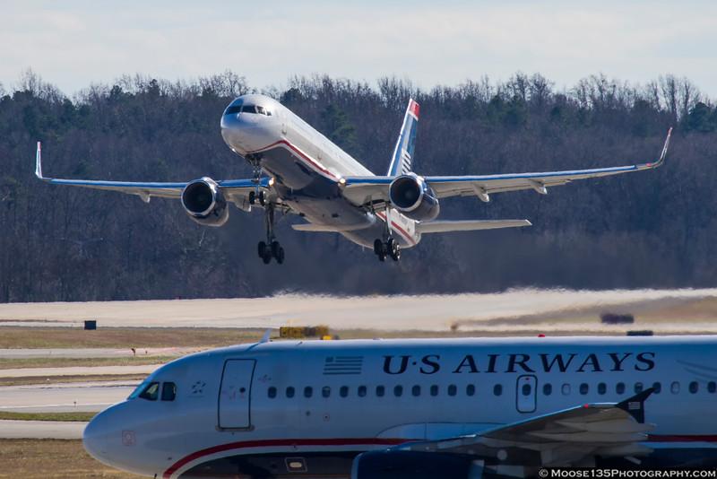 December 15 - US Airways 757 departing Charlotte.