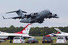 May 21 - C-17 cargo jet departs Long Island MacArthur Airport after dropping off team equipment for the US Air Force Thunderbirds.