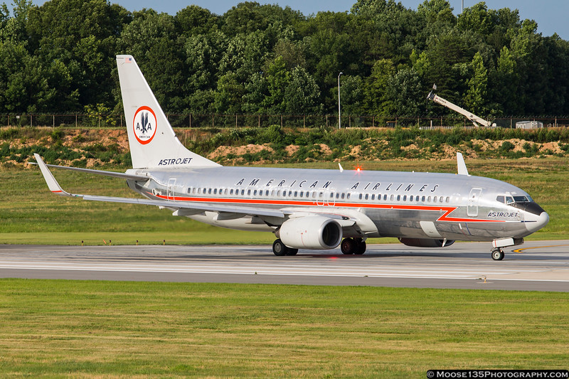 """June 12 - American Airlines retro """"Astrojet"""" 737 visits Charlotte."""