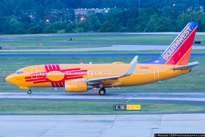 July 2 - Fortunate to catch Southwest's New Mexico One at Charlotte tonight.