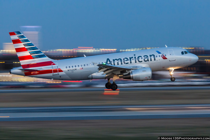 January 9 - Repainted US Airways A319 arrives after sunset.