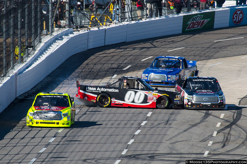 March 28 - After pushing his way to the lead late in the race, Cole Custer learns a lesson about payback during the NASCAR Camping World Truck Series race at Martinsville.