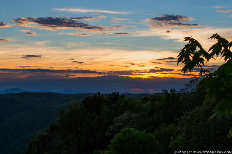 May 9 - Sunset from Caesars Head State Park in northwest South Carolina.