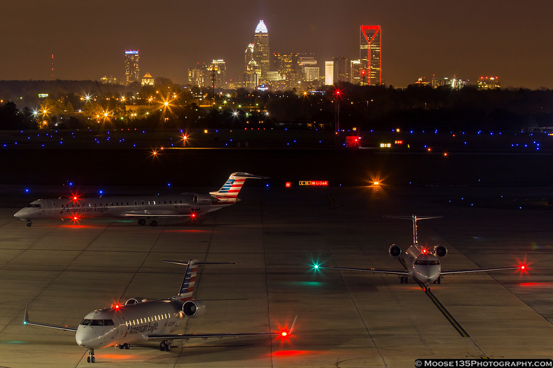 January 14 - A gaggle of CRJs arriving in CLT.