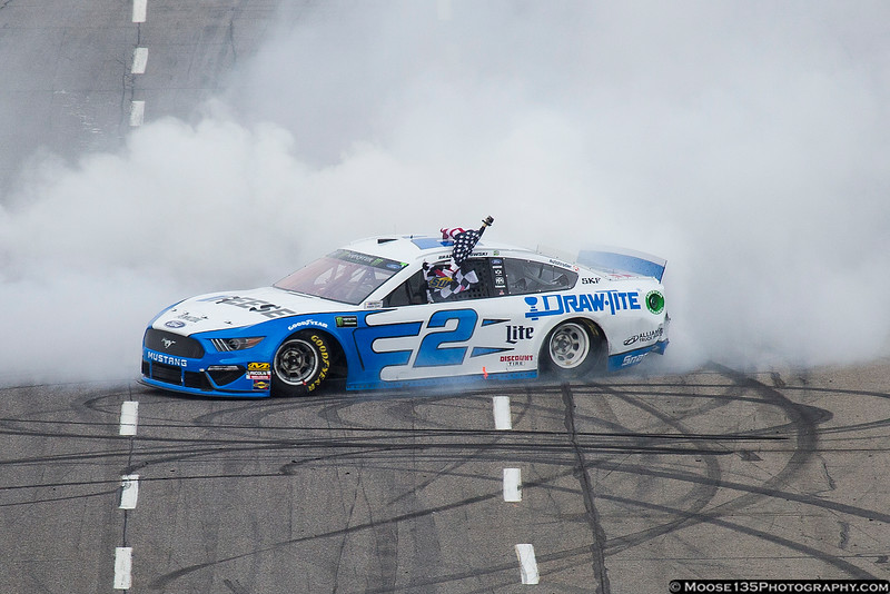 March 24 - Time to make the donuts!  Brad Keselowski celebrates after winning the NASCAR Monster Energy Cup race at Martinsville.