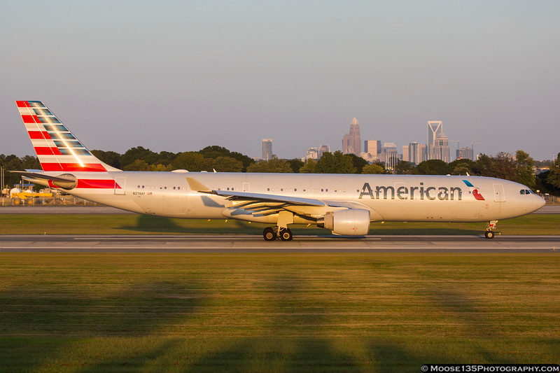 September 21 - American Airlines A330 blasts out of Charlotte under a setting sun.