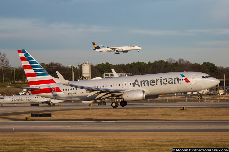 February 3 - American Airlines 737 lands on Runway 18C while the Lufthansa A350 I really wanted lands on 18L.