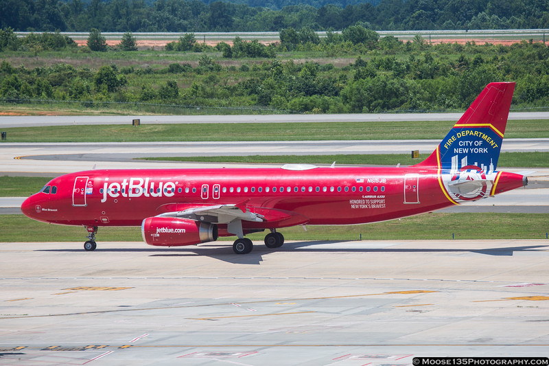 """June 12 - jetBlue resumed CLT service yesterday, and today brought """"Blue Bravest"""", their FDNY tribute scheme to town."""