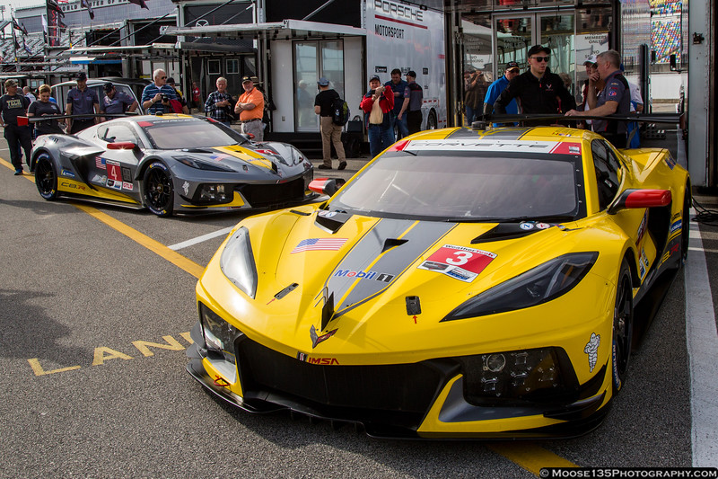January 23 - The new Corvettes prepare to take to the track for Rolex 24 practice.