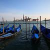 Gondolas against the background of Palladio's church - San Giorgio Maggiore