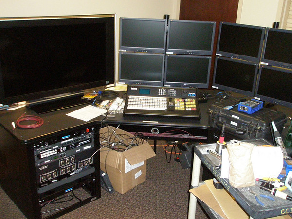 Folsom switcher being installed at presentation switching console