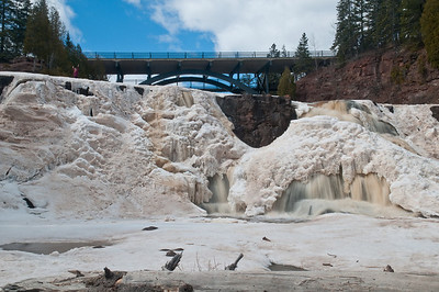 The upper falls at Gooseberry Falls State Park. Photo taken April 2, 2011.  Still a little too much ice at the falls.