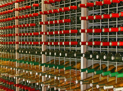 Rows of different types of bottled wine, Rows of different types of bottled wine