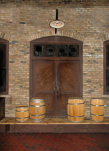 door and barrels