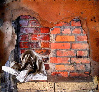 "an old rusty wall over bricks with a newspaper ""rose"""