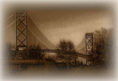 Ambassador bridge between Michigan and Canada