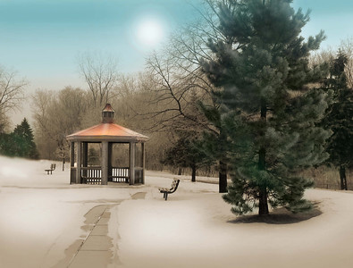 a hand-tinted winter scene with a gazebo
