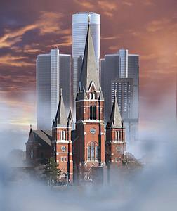 Detroit landmarks: RenCen & St Jehosaphat Church