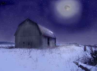 Winter Scene with Barn