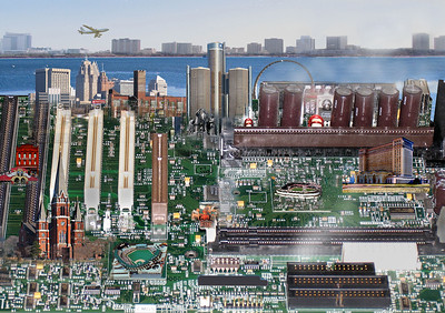 City scapes on motherboards