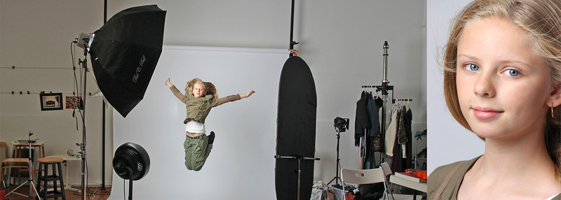 Jump for joy while posing in our studio