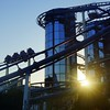 Roller-coaster ride during sunset at Europa Park in Rust, Germany.