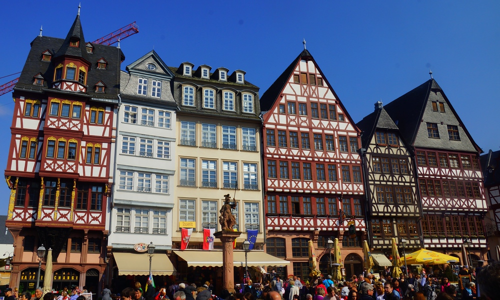 Fascinating tall narrow German architecture in the town square of Frankfurt, Germany.