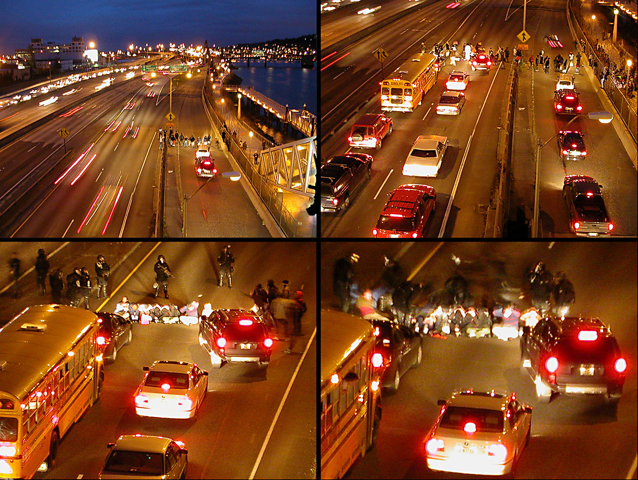 "<b>Appendix  This photo was added at the request of Andy who was one of the individuals taking part in the protest that took place on i-5 the night following our invasion of Iraq. That action was called  ""When the bombs drop, Portland stops."" Traffic was temporarily stopped on all the freeways that slice through downtown Portland. Burnside, the city's major blvd. was closed the entire night."