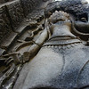 An below perspective of the bas-relief sculpture at Bayon, Angkor Thom.