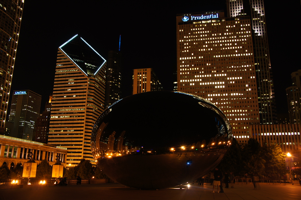 http://nomadicsamuel.com/destinations/chicago-at-night-photo-essay :  This is a perspective shot of the cloud gate at night which you'll notice featured again in some additional shots of this photo essay.