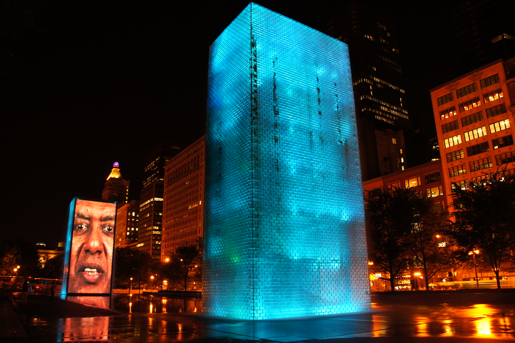 http://nomadicsamuel.com/destinations/chicago-at-night-photo-essay : Finally, one more shot from the Crown Fountain.  At this point, I think it's safe to say I found this particular display very impressive :)